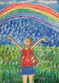 """Artist:Antonina S.  Location:Aktobe - city, Kazakhstan  Age:8  """"A little girl waves to a summer rain shower. The rain suddenly stops as I play hide-and-seek. A rainbow has hung above. Its so great to run and to play when it is raining. I wish there is always peace on earth."""""""