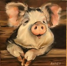60 New Acrylic Painting Ideas to Try in 2018 – Bored Art Cow Painting, Acrylic Painting Canvas, Painting & Drawing, Canvas Art, Animal Paintings, Animal Drawings, Art Drawings, Pig Art, Farm Art