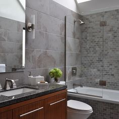 grey bathroom, mosaic tiles