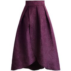 Chicwish Tulip Fairy Embossed Midi Skirt in Plum (€40) ❤ liked on Polyvore featuring skirts, purple, floral pattern skirt, calf length skirts, plum skirt, purple skirt and purple print skirt