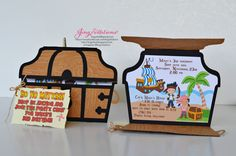 This is my first Pirate theme invitations and I surely had fun making them. Its a treasure chest design with a party map tag in the front. Deco Pirate, Pirate Theme, Pirate Boy, Pirate Birthday Invitations, Party Decoration, 4th Birthday Parties, 3rd Birthday, Birthday Ideas, Birthday Cards
