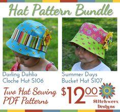 Cloche Hat & Bucket Hat PDF Sewing Pattern by StitchwerxDesigns, $12.00