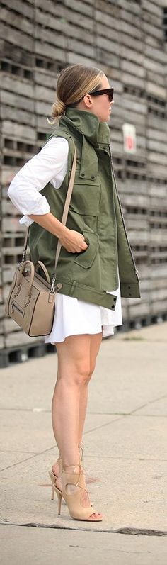 Fashion trends ~ White shirt dress, low bun, military jacket and strapped heels Cute Fall Outfits, Pretty Outfits, Summer Outfits, Spring Summer Fashion, Autumn Winter Fashion, Spring Fashion, Street Chic, Street Style, Latest Fashion Trends