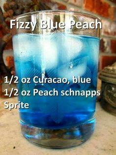 *use of peach schnapps Blue Drinks, Fancy Drinks, Mixed Drinks, Blue Alcoholic Drinks, Peach Alcohol Drinks, Liquor Drinks, Cocktail Drinks, Cocktail Recipes, Alcholic Drinks