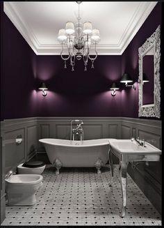 Grey and purple bathroom. Stunning.