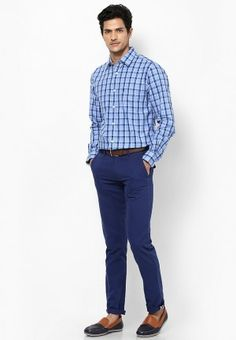 Blue Checked shirt with checks matching pant