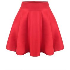 URBANCLEO Womens Solid Versatile A-Line Stretchy Flared Skater Skirt ($9.99) ❤ liked on Polyvore featuring skirts, red circle skirt, red flare skirt, stretchy skirt, red skirt and flare skirt
