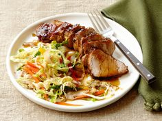 Black-and-Tan Pork With Spicy Ale Slaw : Turn a black and tan (traditionally one part pale ale and one part dark beer) into a main dish with this Guinness-glazed, ale-marinated pork. Serve alongside sweet-hot slaw.