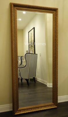 Elegance Ornate Embossed Antique Dark Gold Wood Framed Floor Mirror Westframes
