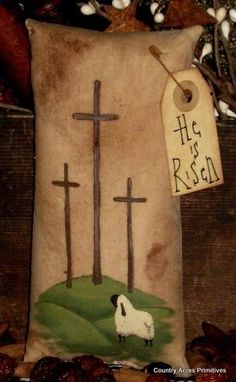 Primitive Easter Cross Ornie by CountryAcres on Etsy