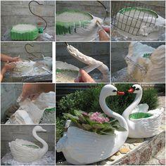 DIY plastic swan planter