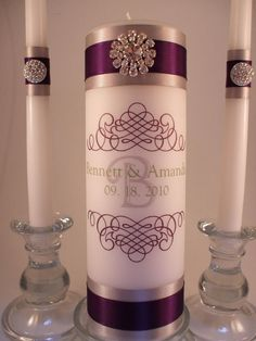 Monogram unity candle: drip-less pillar matching side candles. Perfect Wedding, Our Wedding, Dream Wedding, Wedding Stuff, Wedding 2017, Wedding Crafts, Wedding Decorations, Candle Decorations, Pearl Decorations