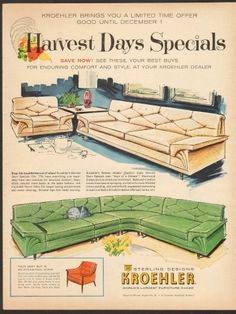 vintage 1960  magazine ad 73 for Kroehler Sterling Designs Furniture