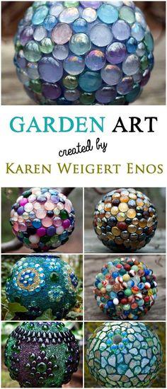 A gallery of garden art balls created by Karen Weigert Enos Seraphinas Artworks by carolina Outdoor Crafts, Outdoor Projects, Outdoor Art, Outdoor Ideas, Outdoor Spaces, Yard Art, Organic Gardening, Gardening Tips, Flower Gardening