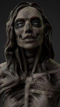 ArtStation - Clay skull girl (Speed sculpt stream), by Olya Anufrieva Arte Horror, Horror Art, Arte Peculiar, Anatomy Sculpture, Arte Robot, Zombie Art, Arte Obscura, Skeleton Art, Maquillage Halloween
