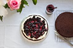 Prepping my Chocolate Layer Cake with Cherry Jam and Vanilla Buttercream. By Cake Me! Oslo.   www.facebook.com/cakemeoslo. For enquiries or orders email cakemeoslo@gmail.com