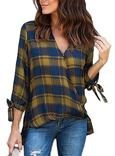 6caa4eca Astylish Women Casual Plaid V Neck 3 4 Long Sleeve Blouses and Tops Shirts  at Amazon Women's Clothing store: