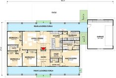 Flexible Country House Plan with Dual Porches - floor plan - Main Level - Basement Version Metal Building House Plans, Pole Barn House Plans, Basement House Plans, Ranch House Plans, Country House Plans, New House Plans, Dream House Plans, House Floor Plans, Basement Stair