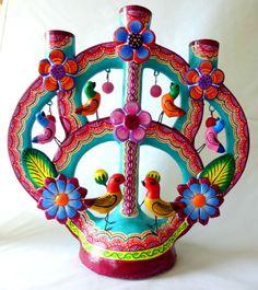 MEXICAN IZUCAR PAINTED CERAMIC TREE OF LIFE FOLK ART CANDLEHOLDER JORGE MC 004