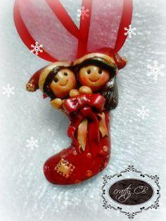 me & CB on socks. Socks, Clay, Christmas Ornaments, Holiday Decor, Crafts, Design, Home Decor, Clays, Manualidades