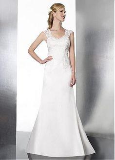 [188.99] Glamorous Satin & Tulle Cap Sleeves Lace Appliqued 2013 Princess Wedding Dresses