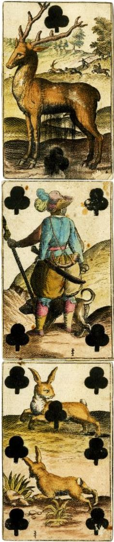 German playing cards, early 1800's. Hand colored etching.