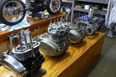 Mule Motorcycles garage workshop - engines in progress on bench