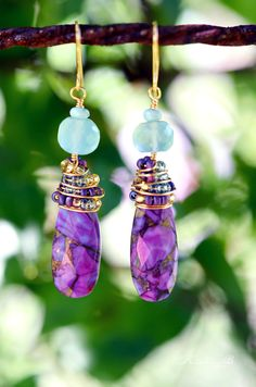 Purple Turquoise and Aqua Blue Chalcedony Gold Wire Wrapped Earrings with Seed Beads. $30.00, via Etsy.