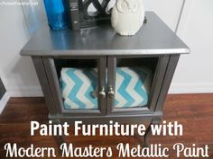 So easy to update a side table and with Metallic Paint by Modern Masters!