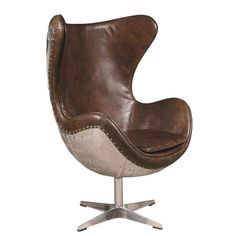 New Aviator Spitfire Vintage Brown Leather Egg Chair Aluminum, Mid Century Modern, Rustic Contemporary, 1950's Copenhagen Spitfire Metal Swivel Chair, Living Room, Bedroom, Office, Library, Restoration Hardware Style, Vintage Cigar Brown Distressed Leather, Architectural Digest, Metropolitan Home, Dwell Magazine, Jacobsen Reproduction Egg Chair