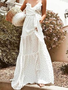 ab858c87012 Pretty Polka-dot Bohemia Backless Floral V Neck Maxi Dress   shopforselection  amazing