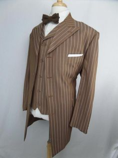 Pinstripe ZOOT SUIT Light Brown 2PC Gangster 50R Vested 1940s #VittorioStAngelo…
