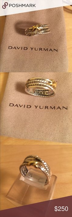David Yurman Authentic Ring 750&925. David Yurman Authentic Ring Gold Crossover in Sterling Silver. Like New size 6. Comes with Original DY pouch no scratches. David Yurman Jewelry Rings