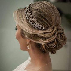 43 Gorgeous Wedding Hairstyles For The Elegant Bride Wedding Tiara Hairstyles, Bridal Hair Updo, Bridal Hair And Makeup, Bride Hairstyles, Headband Hairstyles, Hair Makeup, Headband Updo, Special Occasion Hairstyles, How To Make Hair