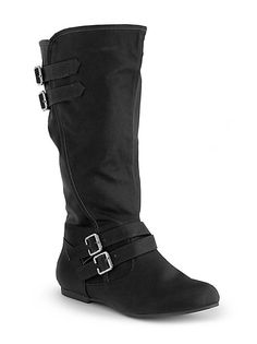 dots: Wide Calf Double Buckle Flat Boot