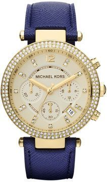 Michael Kors Watch, Women's Chronograph Parker Navy Leather Strap