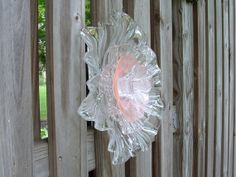 Side VIew - Garden art pink tulip suncatcher made with vintage and repurposed glass.