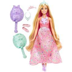 <strong>Barbie - Boneca Mil Penteados Mágicos Vestido Rosa</strong>, a boneca de uma Princesa Barbie Dreamtopia com o cabelo 3 em 1, uma escova e uma bandolete. Esta boneca tem uma cabeleira muito comprida e luze um belo vestido com flores estampadas na parte da saia. Como as princesas do bosque das madeixas mágicas de Dreamtopia, o cabelo desta boneca transforma-se de verdade. Quando se entra em Dreamtopia com as irmãs Barbie e Chelsea, acorda-se num mundo onde os sonhos se...