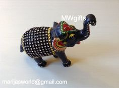 Decorative Dark Blue Wooden Elephant with Crystals - Hand Made and Painted