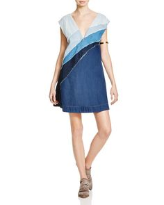 Free People Patchwork Denim Dress | Cotton | Hand wash | Imported | V-neck with concealed hook-and-eye closure, cap sleeves | A-line silhouette, two slit side pockets, back cutouts, pullover style  |