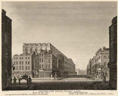 The theatre in 1809 (from an 1811 engraving). The view is from the north-east, looking down Russell Street at its intersection with Drury Lane. This shows the rear of the theatre with its dressing rooms and stage door.