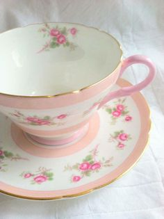 Pink and White Floral Teacup and Saucer