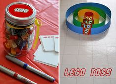 guess how many legos in the jar & Lego toss, each player gets ten legos, add up scores to find a winner.  cute.