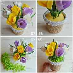 Biscuit, Diy And Crafts, Paper Crafts, Flower Basket, Paper Flowers, Tulips, Planter Pots, Easter, Table Decorations