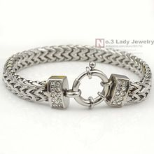 New Arrival Stainless Steel Bracelet Round Clasp Polished Double Chain Women…