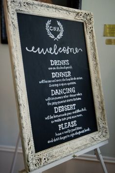 Chalkboard Wedding Details | Bride's Blog ...  Best one I've seen. Great timeline. Easy-going and still very informative. Maybe make one for the menu too if there's a buffet?