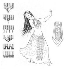 AF19  Parvaneh's Panels Pattern Belly Dance by patternsoftime, $10.75