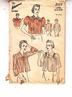 Bed Jackets Pleats Tucks 1930s Advance Sewing Pattern 2157 Unused Unprinted #Advancesewingpattern #1930sbedjacket