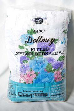 BNIP Vintage Floral Fitted Nylon Double Bedspread Frilled Super Dellmey -UK made