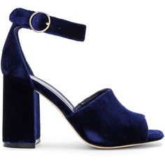 Joie Lahoma Heel (€125) ❤ liked on Polyvore featuring shoes, sandals, heels, blue, velvet, high heel shoes, high heeled footwear, joie, blue heeled shoes and heeled sandals